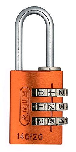 ABUS Zahlenschloss 145/20 Orange - Vorhängeschloss aus massivem Aluminium - mit individuell einstellbarem Zahlencode - 46607 - Level 3