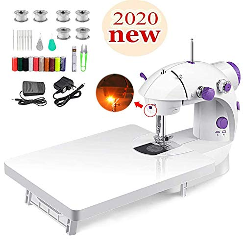 Mini Sewing Machine with Extension Table, Portable Electric Adjustable 2-Speed Double Thread Sewing Machine with Lights,Foot Pedal,Needle Protector Perfect for Beginner Household Travel