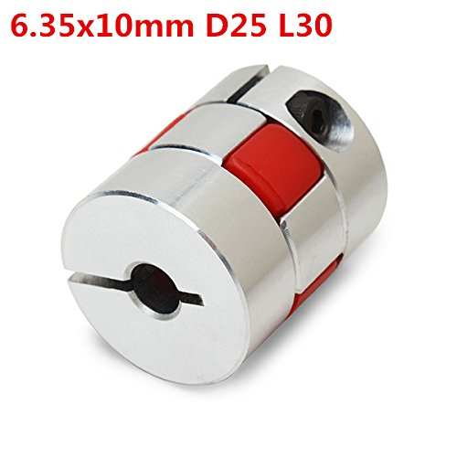 BephaMart 6.35mmx10mm Aluminum Flexible Spider Shaft Coupling CNC Stepper Motor Coupler Connector OD25mm x L30mm Shipped and Sold by BephaMart