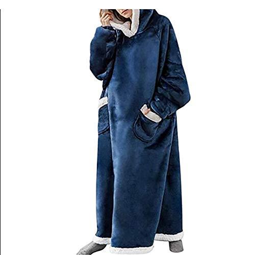 Manta con capucha, de gran tamaño, súper suave, cálida, cómoda, con capucha gigante, se adapta a todos, hombres, mujeres, niñas, niños, amigos (color: azul marino).