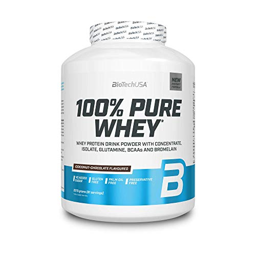 BioTechUSA 100% Pure Whey Protein Complex with bromelain Enzyme, Amino acids, sweeteners and no Added Sugar, Palm Oil Free, 2.27 kg, Coconut-Chocolate