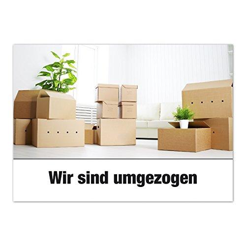 16 x Postkarten für Umzug - Motiv Umzugskartons - Wohnungswechsel, Einzug, Auszug, neue Adresse, Karte