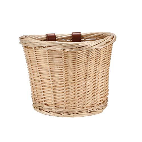 Laiashley Bicycle Basket, Wicker Front Handlebar Bicycle Basket, Beach Cruiser Bike Baskets with Leather Straps Front Handlebar Wicker, Bike Baskets for Women Boys Girls