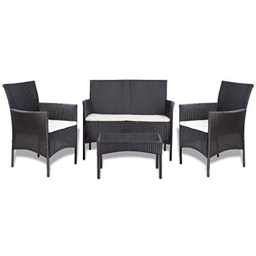 Tidyard Gartensofa-Set 7-TLG. Poly Rattan | 1 x 2-Sitzer-Sofa 2 x Sessel 1 x Couchtisch 3 x Sitzpolster