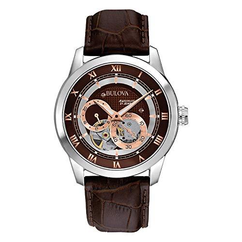 Relógio masculino marrom Bulova 96A120 BVA Series com mostrador de abertura dupla