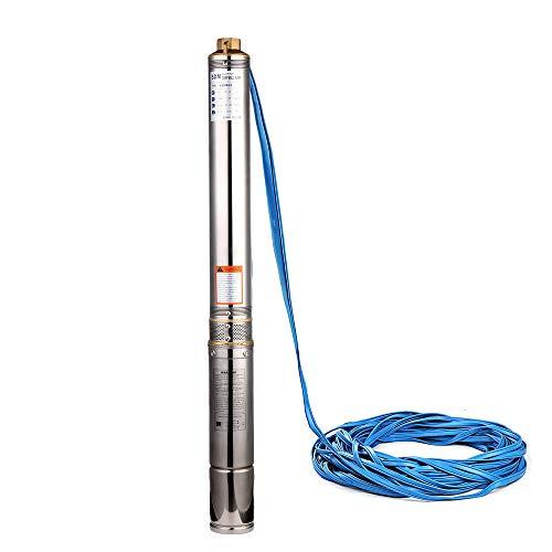 SHYLIYU Pompa per Pozzi Profondi Pompa Sommersa Per Pozzi Pompa a Immersione Irrigazione Acciaio Inox 220V 370W 3300L/H per Uso Industriale e Agricolo Domestica