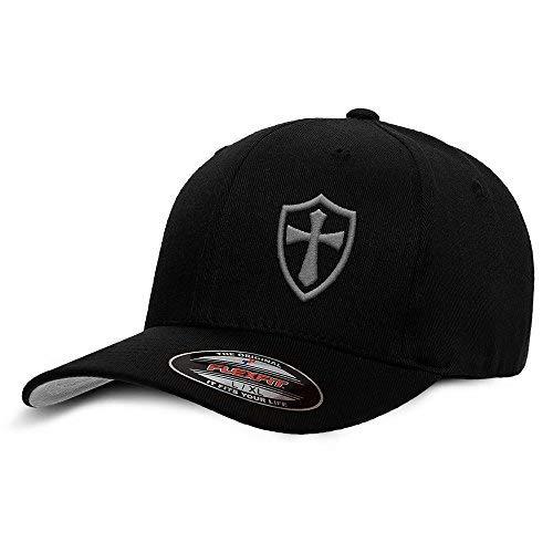 Crusader Knights Templar Cross Baseball Hat Large/X-Large Grey on Black