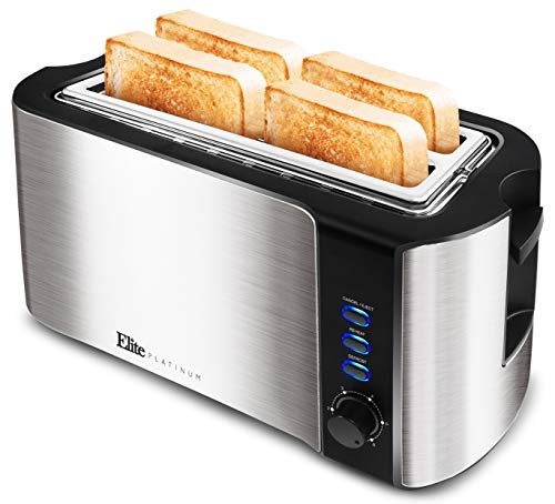 Elite Platinum ECT-3100 Long Slot 4 Slice Toaster with Extra Wide 1.25'' Slots for...