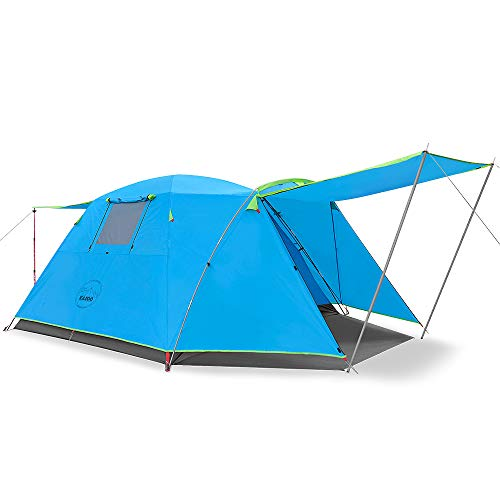 KAZOO Outdoor Camping Tent Durable Waterproof, Family Large Tents 4 Person, Easy Setup Tent with Porch Double Layer (Blue)