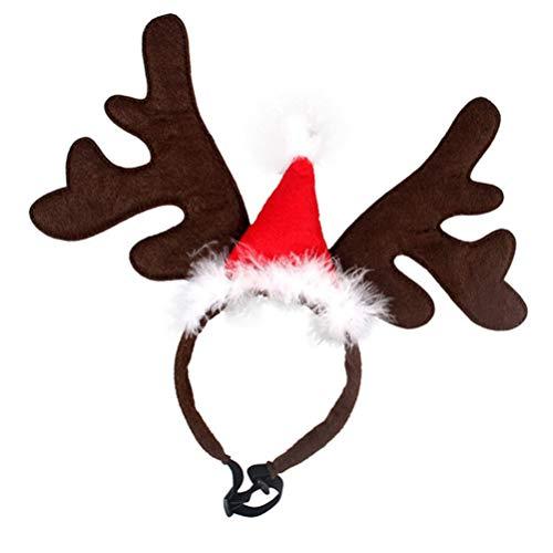 LUOEM Geweih Haarreif Haustier Weihnachten Kostüm Plüsch Hirschgeweih Weihnachtsmütze Stirnband Einstellbar Hund Katze Kopfschmuck Karneval Fasching Party Cosplay Zubehör Foto Requisiten
