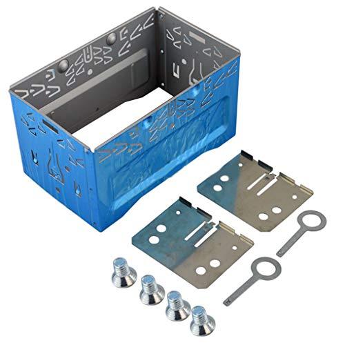 rongweiwang Car Stereo reinstalación o Facial Marco del Panel ISO 2DIN Jaula de Metal con los Soportes de instalación Tornillos Keys