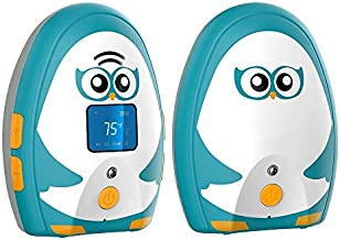 TimeFlys Audio Baby Monitor Mustang OL, Two-Way Talk, Long Range up to 1000 ft, Rechargeable Battery, Temperature Monitoring and Warning, Lullabies, Vibration, LCD Display, Night Light