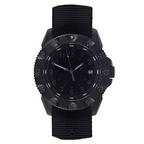 MWC Militar Automático Acero Negro Zafiro Featario Tricio NATO Hombre Reloj Tactical