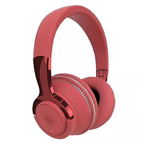 Auriculares plegables y auriculares inalámbricos auriculares con exceso de audífono LED Auriculares de luz con micrófono rojo