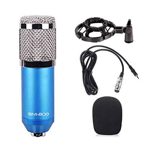 huiingwen BM-800 CapStudio Broadcasting Kit MIC avec microphone à condensateur + support d'amortisseur + câble d'alimentation + mousse anti-vent bleu