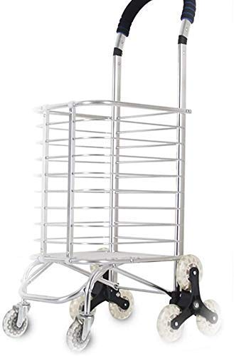 Home Trolley Shopping Cart Grocery Shopping Cart Folding Portable Trolley Car Trolley Home Climbing Building Elderly Pulling Goods Trolley Trailer Gift (Color : White Size : 94 * 30 * 4
