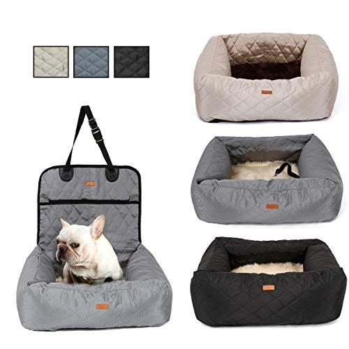 MONIKI 2in1 Hond Auto Seat Bed - Waterdicht & Nonslip Kat Reizen Front Booster Zitplaatsen, Verwijderbare cover & Kussen, Grijs