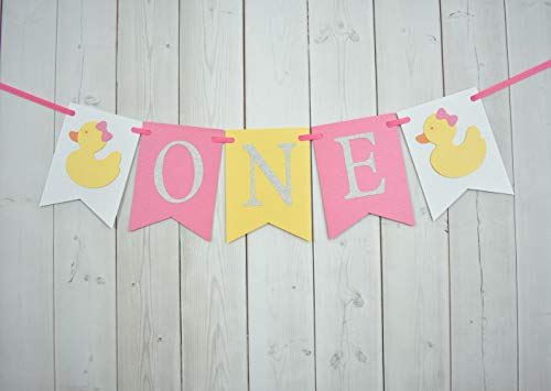 Rubber Duck ONE Age High Chair Birthday Party Banner Sign Pink Yellow Silver