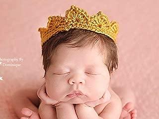 Handmade Newborn Crown, Baby Boy Girl Photo Prop, Gender Neutral Infant Photography Prop, Gold