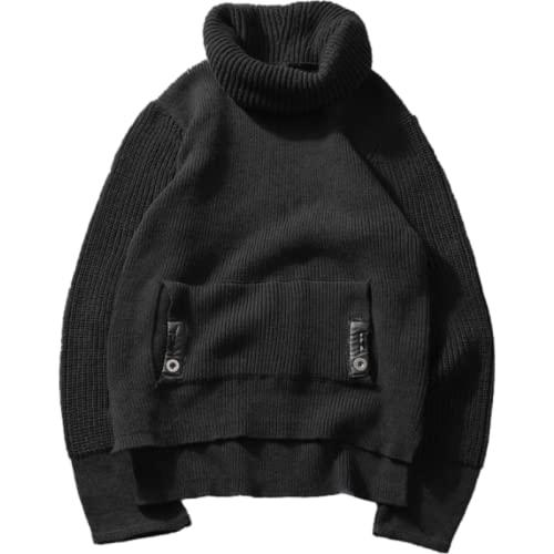 Jersey para Hombre, suéter de Moda, Cuello Alto, Manga Larga, Ocio, Informal, de Gran tamaño, Color sólido Simple M