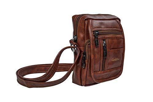 GOLDLINE Bandolera de cuero para hombres y mujeres/multiusos 3L de alta capacidad con correa de hombro ajustable, bolsa de hombro de 6 bolsillos, Beige, M,