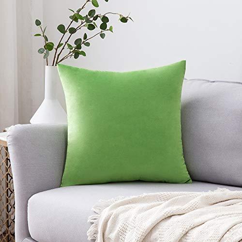 MIULEE Confezione da 1 Federa in Velluto Copricuscino Decorativo Fodera Quadrata per Cuscino per Divano Camera da Letto Casa45X45cm Erba Verde
