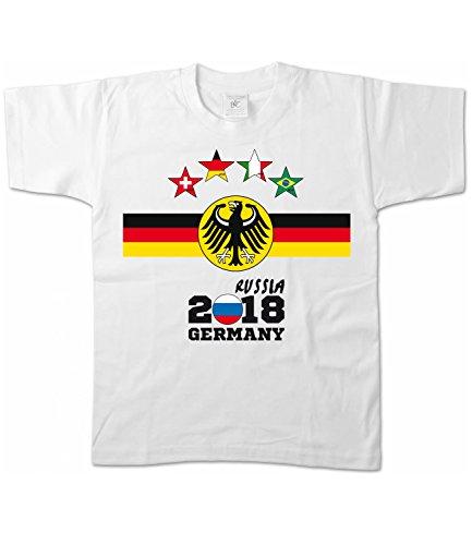 Artdiktat Kinder T-Shirt - Deutschland Trikot Weltmeisterschaft 2018 Wunschname und -Nummer am Rücken - Vier Sterne Weltmeister - Russia Russland Fußball Größe 122/128, weiß