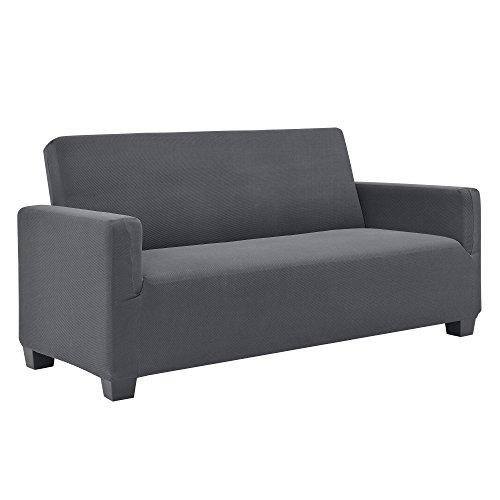 [neu.haus] 2-Sitzer Sofabezug für Breite 120-190cm Dunkelgrau Schonbezug Sesselüberzug Sofahusse