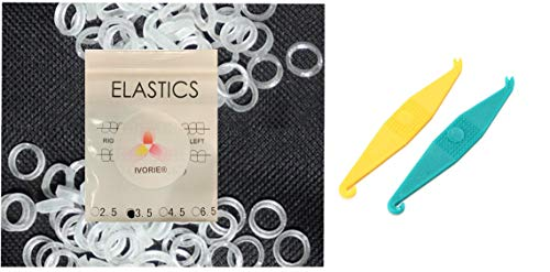 Dental Orthodontic Elastic Rubber Bands 100 Pack and Placers for Teeth Gap Closing (Clear 1/8' Heavy 4.5 oz)