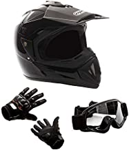 MMG 30 Combo Adult Motorcycle Off Road Helmet DOT, MX ATV Dirt Bike Motocross UTV, Large, Shiny Black with Riding Gloves and Goggles