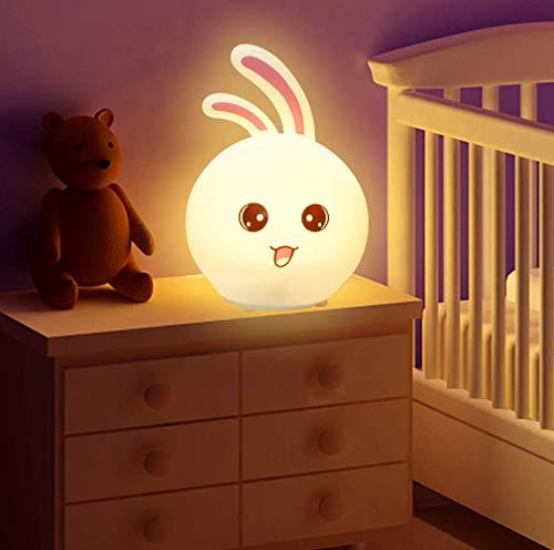 CNSUNWAY LIGHTING Luce notturna portatile per bambini, 7 colori LED Lampada per coniglio in silicone, Lampada per cameretta, Regalo di compleanno per lampada cambia colore ricaricabile USB