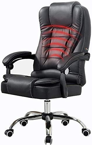 ZXJ Silla giratoria de oficina Silla con respaldo alto 72 cm grande asiento y función de inclinación masaje de la cintura ergonómica del Ministerio del Interior de la PU de la carga de peso 150kg sill