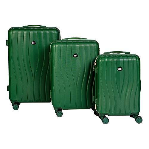 Enrico Coveri Moving Set Tre Trolley da Viaggio, Valigie Rigide in 3 Dimensioni Con Struttura ABS Antigraffio e Antiurto (Verde)