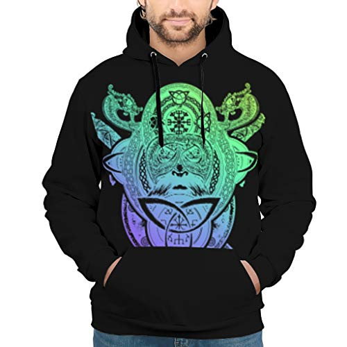 JEFFERS Herren Classics Sweatjacke Pullover Viking Tattoo Slim Sweat Hoodie Für Männer White l