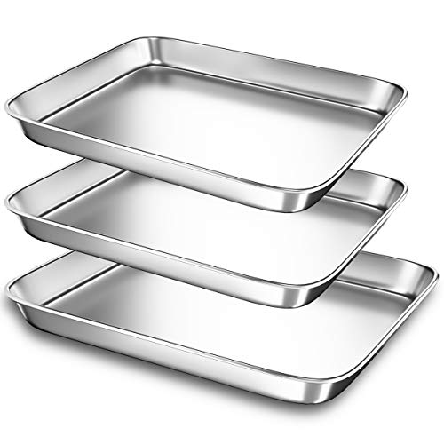 Small Baking Sheet Pans for Toaster Oven, Stainless Steel Cookie Sheets Metal Bakeware Pan, Sturdy & Heavy Rectangle Tray by Eaninno, 10.4 & 9.2 inch, 3 Piece/Set