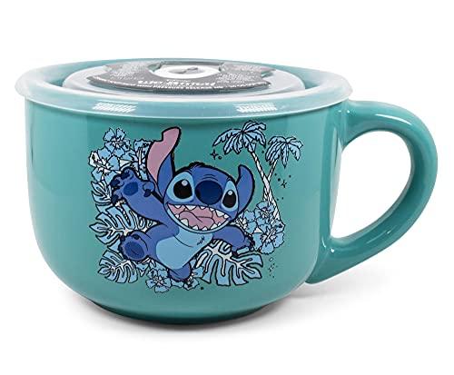 Silver Buffalo Lilo and Stitch Stay Weird Leap 24oz Ceramic Soup Mug w Vented Plastic Lid, Blue