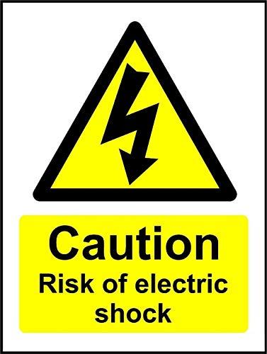 Señal de seguridad con precaución y riesgo de descarga eléctrica. Adhesivo autoadhesivo...