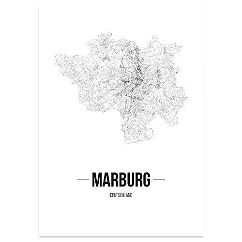 JUNIWORDS Stadtposter - Wähle Deine Stadt - Marburg - 21 x 30 cm Poster - Schrift B - Weiß