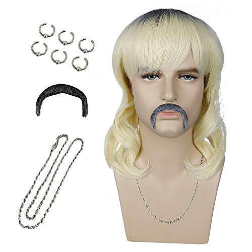 Joe Exotic Costume Wig Tiger King Costume Blonde Wig Short Hair Wigs for Men Boys with 6 Earrings Mustache Necklace for Party Halloween S090B