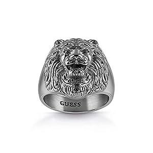 Guess Herren-Herrenring Lion Head Edelstahl 62 Grau 32011725
