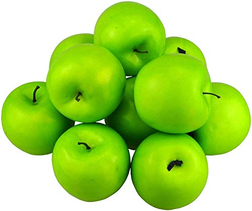 Hexint 12Pcs Simulation Fake Apple Artificial Fruit Green Apples Lifelike for Christmas Home House Kitchen Wedding Party Photography Decoration