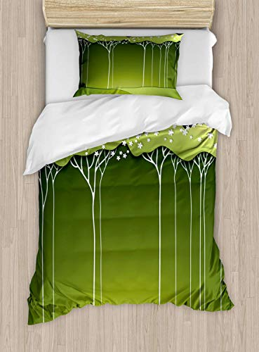Scott397House Tree Single Bedding Duvet Cover 2 Piece, Graphics of Long Leafy with Floral Details, Soft Bedding Protects Set with 1 Comforter Cover 1 Pillowcase, Single Size, Olive Green Green
