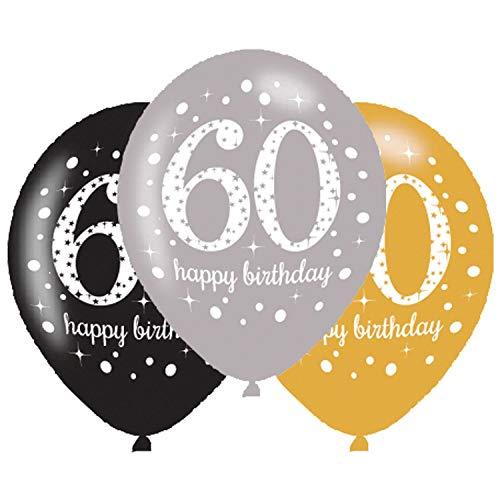 Amscan 9900741 - Latexballons 60 Happy Birthday, 6 Stück, Luftballons, Geburtstag, Dekoration