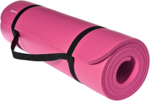 AmazonBasics 13mm Extra Thick Yoga and Exercise Mat with Carrying Strap, Pink