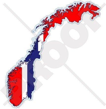 NORWEGEN Norwegische Karte-Flagge Das Königreich Norwegen, Noreg 120mm Auto & Motorrad Aufkleber, Vinyl Stickers