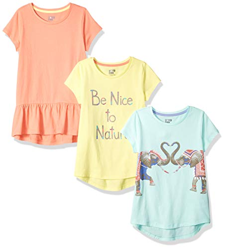 Amazon Brand - Spotted Zebra Kids Girls Short-Sleeve Tunic T-Shirts, 3-Pack Be Nice to Nature, Small