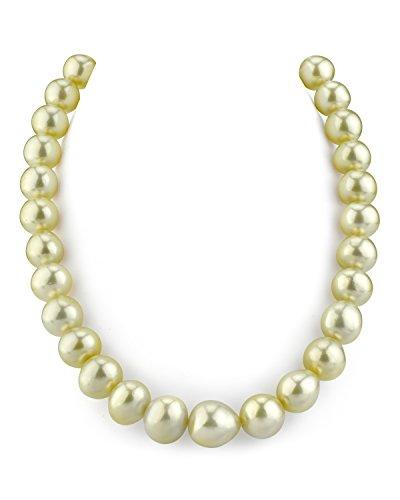 Collar barroco de perlas cultivadas del mar del Sur de oro de 13-15,5 mm