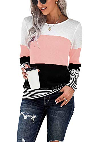 NEYOUQE Women's Clothes Fall Clothes for Women 2021 Tops for Women Work Casual Stripped Shirts for Women Workout Tunics for Women Thermal Shirts for Women Cute Clothes Womens Long Sleeve Tops Pink M