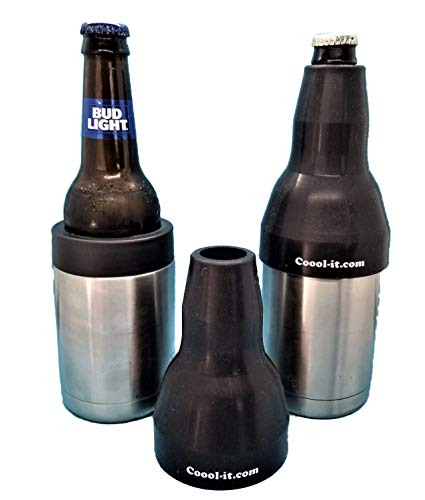 Coool-it,Silicone Adaptor for Long Neck Beer Bottles.Convert Your Stainless Can Cooler to Best Long Neck Bottle Insulator. Fits Yeti/RTIC/Ozark Trail Can Coolers.Adapter Only (Black)