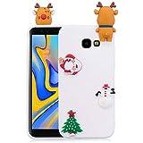 Coque Christmas Compatible avec Galaxy J4 Plus Étui Silicone 3D Kawaii Mignon Cerf de Noël...